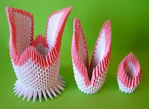Оригами модули лебедя двойного