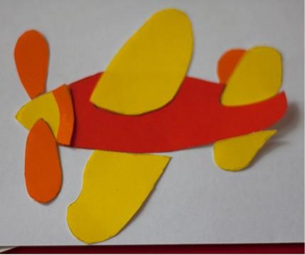 Аппликация из цветной бумаги самолёт