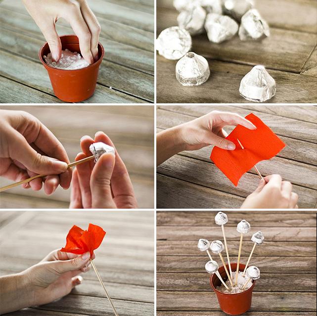 Цветы из конфет в горшке своими руками